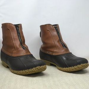 LL Bean Duck Boots Zip Shearling Lined Size 13 W